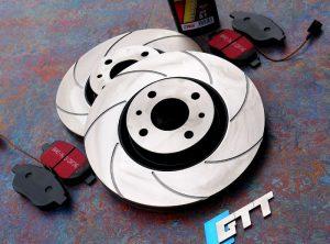 Abarth 500 GTT Spiroslot Front Brake Discs + Kevlar Brake Pads