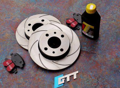 Abarth 500 GTT Spiroslot Rear Brake Discs + Kevlar Brake Pads
